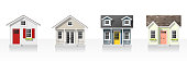 Elements of architecture with small houses isolated on white background , vector ,illustration