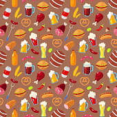 Seamless pattern with cartoon elements of beer festival on brown background
