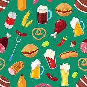 Seamless pattern with cartoon elements of beer festival on green background