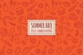 Seamless pattern with hand drawn doodle BBQ icons set. Vector illustration with summer barbecue elements collection. Cartoon meals, fish, drinks and ingredients on red background.