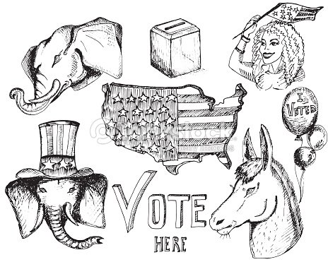 Elephant And Donkey Symbols Of Political Parties In Unated States
