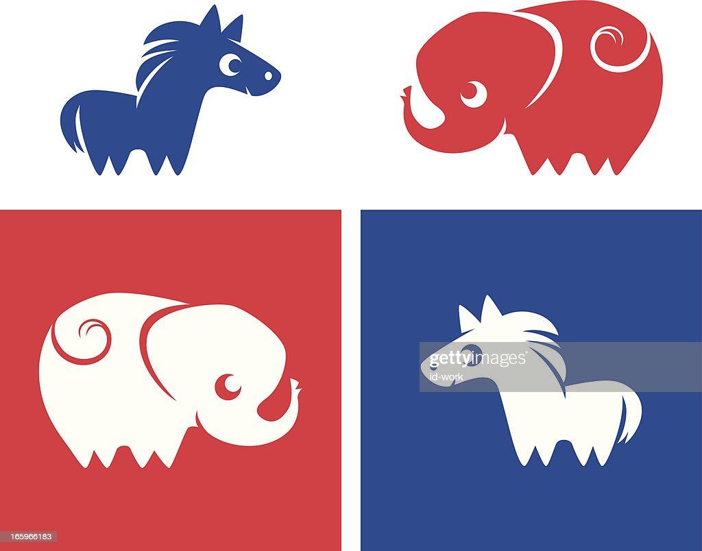 elephant and donkey : Vector Art