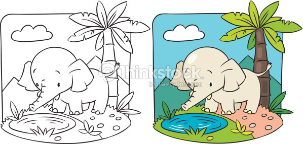 Elephant Coloring Book Vector Art | Thinkstock