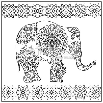 Elefante Zentangle Página Para Colorear Arte vectorial   Thinkstock