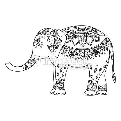 Elefante Decorado De Indios étnicos Flores Vintage Animales ...