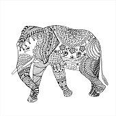 Elephant hand drawn doodle graghic. Object isolated on white. Floral mandala