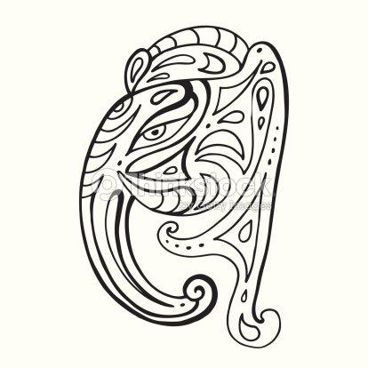 9781c5edeb6de Elefante cabeza. Ganesha ilustración a mano.   Arte vectorial