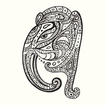 5ee252fe9270f Elefante cabeza. Ganesha ilustración a mano.   arte vectorial
