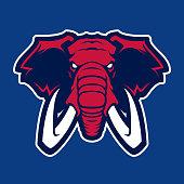Elephant vector mascot. Head of African elephant. Emblem design for sport team.