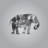 Elephant in polygon style vector. Cubist style. Gray colors