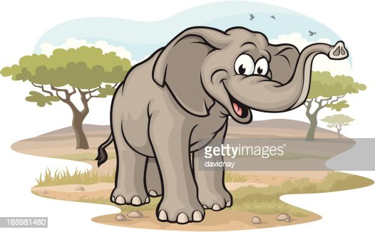 Elephant on the Savannah : Vector Art