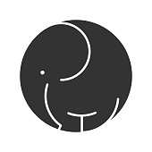 Elephant symbol icon wild animal black silhouette logo template. Vector illustration.