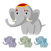 Elephant Vector. Cute African Animal. Circus. Isolated Flat Cartoon Illustration