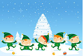 Elf fun five elves happily dancing with Snowy background. Vector Illustration cartoon.