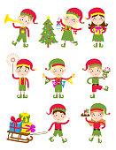 Santa Claus kids cartoon elf helpers vector illustration. Santa Claus elf helpers children. Santa helpers traditional costume. Santa family elfs isolated on background. Santa Claus elf, christmas kid