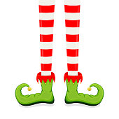 Elf legs in green shoes isolated on white background, illustration.
