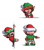 Set of 3 themes of  cartoon illustrations of Santa's Elves showing on empty label. Each pose on separate layer.