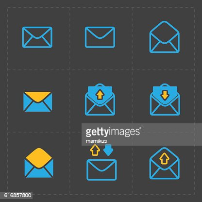 Email and envelope icons on Dark : Vector Art