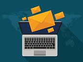 Vector modern flat design of email marketing. Laptop and envelope on screen with long shadow. Vector illustration.