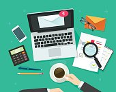 Email marketing vector illustration, auditor person working on workdesk with laptop, envelope, email analyzing or inspecting newsletter campaign data, analytic table top view