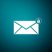 Email message lock password icon isolated on blue background. Envelope with padlock sign. Private mail and security, secure, protection, privacy symbol. Flat design. Vector Illustration