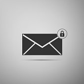 Email message lock password icon isolated on grey background. Envelope with padlock sign. Private mail and security, secure, protection, privacy symbol. Flat design. Vector Illustration