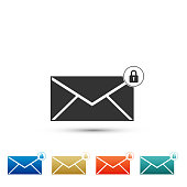 Email message lock password icon isolated on white background. Envelope with padlock sign. Private mail and security, secure, protection, privacy symbol. Colored icon. Flat design. Vector Illustration