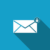Email message lock password icon isolated with long shadow. Envelope with padlock sign. Private mail and security, secure, protection, privacy symbol. Flat design. Vector Illustration