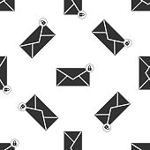 Email message lock password icon seamless pattern on white background. Envelope with padlock sign. Private mail and security, secure, protection, privacy symbol. Flat design. Vector Illustration