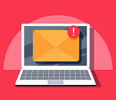 Email notification concept. New email on the laptop screen. Vector illustration in flat style. Computer get Spam advertising letter. Internet Mailbox with incoming message. Online post marketing