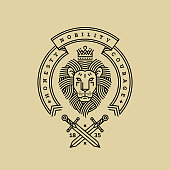Emblem, badge with a head of the royal lion, ribbon, motto and swords in the style of engraving of linear design for a premium sing or coat of arms. Lion with a crown symbol of power, strength, securi