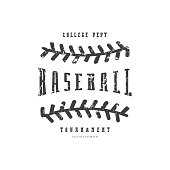Emblem of baseball team. Graphic design with rough texture for t-shirt. Black print on white background