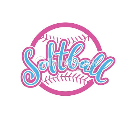 Emblem of softball. Graphic design for t-shirt and stickers. Vector illustration on white background