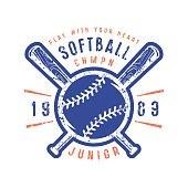 Emblem of softball junior team. Graphic design for t-shirt