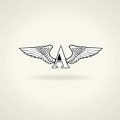 Classic emblem or blank. Beautiful angel wings and the letter A. The letter can be changed.