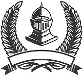 Emblem template with medieval knight helmet. Design element for label,sign. Vector illustration
