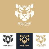 Emblem template with tiger head. Design element for  label, sign, badge. Vector illustration.