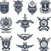 Emblems and badges for air and ground forces. Template badge for military force. Vector illustration