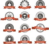Emblems, badges and stamps with ribbons - awards and seals designs