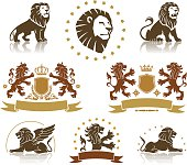 Lions heraldic set with banners, ornaments and crowns.
