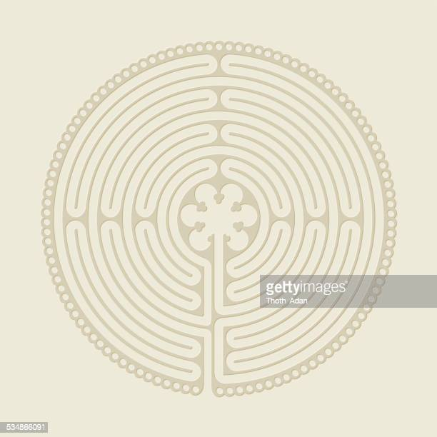 Embossed labyrinth on beige paper (Religious symbol)