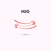Embrace or hug icons vector logo design template.Love concept.Valentine's Day Vector Card.Love & Happy valentines day concept.Vector illustration