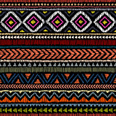 embroidered ethnic seamless pattern, aztec and tribal motifs, striped ornament hand drawn, print in the bohemian style, vector illustration