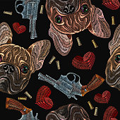 Embroidery bulldog, hearts and guns seamless pattern. Wild west embroidery old revolvers, red hearts and french bulldog dog, gangster fashion background. Design of clothes, t-shirt design
