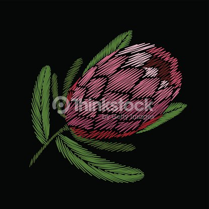 Embroidery floral patch tropical protea blossom. Pink flower exotic leaves fashion print textile decoration stitch detailed vector illustration