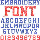 Embroidery font, letters and numbers. Vector illustration with transparent effect, eps10.