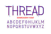 Embroidery font Thread vector illustration