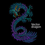 Embroidery of Chinese dragon. Classical embroidery asian blue dragon. Art of dragons for t-shirt design. Clothes, textile design template.