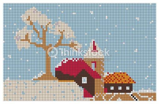 Stickerei Muster Christmas Town Vektorgrafik   Thinkstock