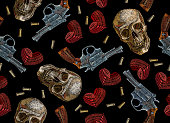 Embroidery skulls, hearts and guns seamless pattern. Wild west embroidery old revolvers, red hearts and human skulls, gangster gothic fashion background. Design of clothes, t-shirt design